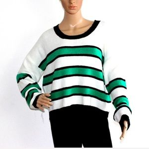 NWT Green and white striped knit Crew Neck sweater